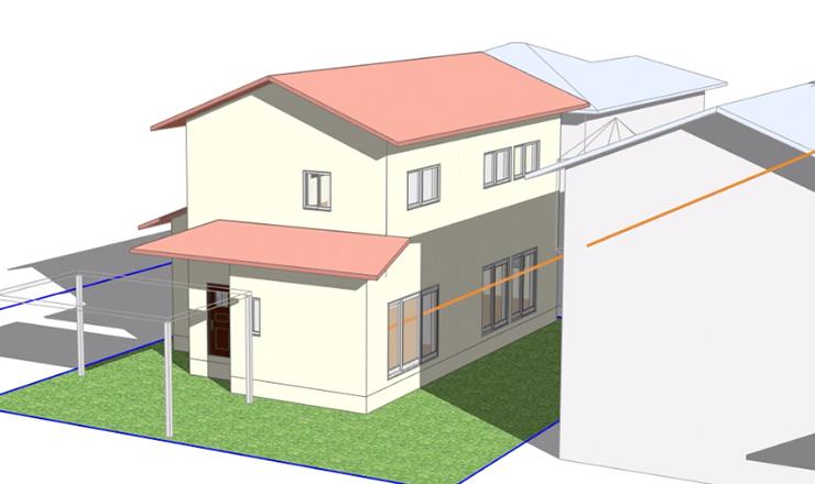 イメージ:太陽の動きを理解し、家の配置計画をおこないます